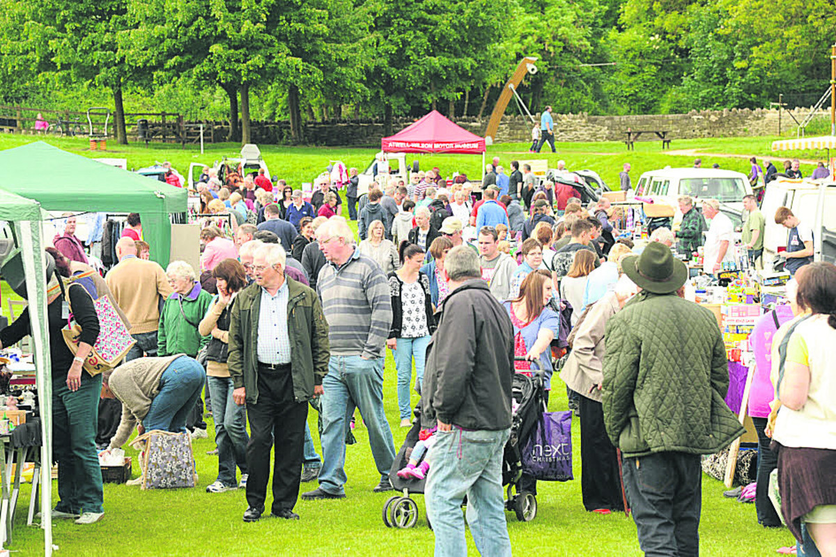 Crowds at the Victory Field in Bradford on Avon for the car boot sale at the Bradford on Avon Lions  Family Fun Day on Bank Holiday Monday
