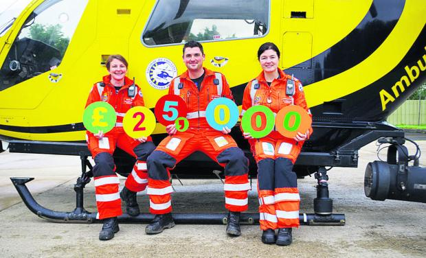 Paramedics Louise Cox, Ross Culligan and Jo Munday launch the Superdraw lottery