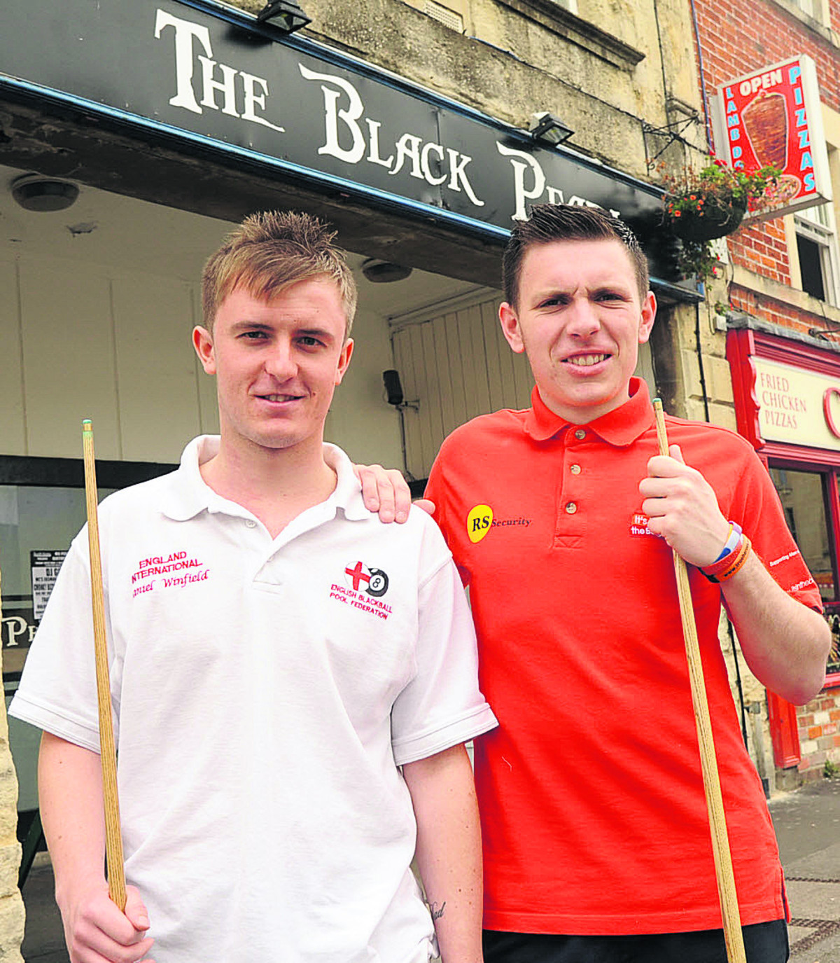 Daniel Winfield and Danny Tallentire, who have both selected for England pool team outside the Black Pearl in Trowbridge, where they practice