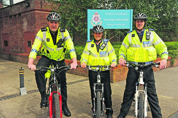 Wiltshire Times: Sergeant Jim Suter, PCSO Maria Badder and PCSO James Bates on their bikes