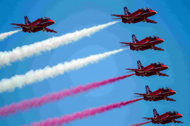 The Red Arrows are a big attraction at the Royal International Air Tattoo