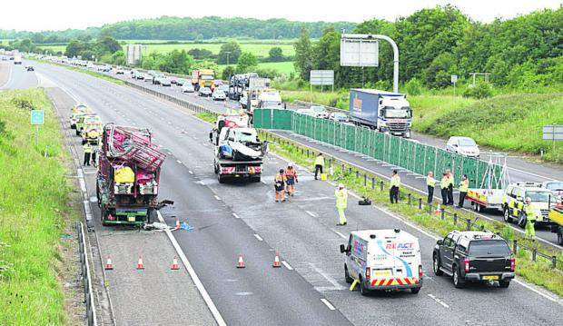 The accident scene on the M4 at junction 17 this morning