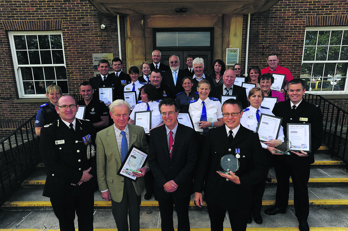 Wiltshire Chief Constable Pat Geenty and Kieran Kilgallen, of the office of the PCC, with the winners, front: Nigel Beaven, PC Pete Jung and PCSO Juliet Evans PCSO, and, back: PCSO Emma Millarvie and PC Luke Atkinson