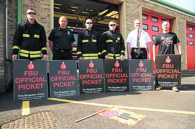 Wiltshire Times: Firefighters at Trowbridge on the picket line today