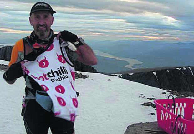Tom Stokes, pictured on Ben Nevis during the City to Summit Triathlon