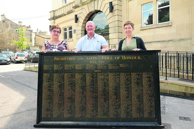 Bradford on Avon town clerk Sandra Bartlett, Councillor Laurie Brown and deputy town clerk Emma Windsor with the town's Roll of Honour