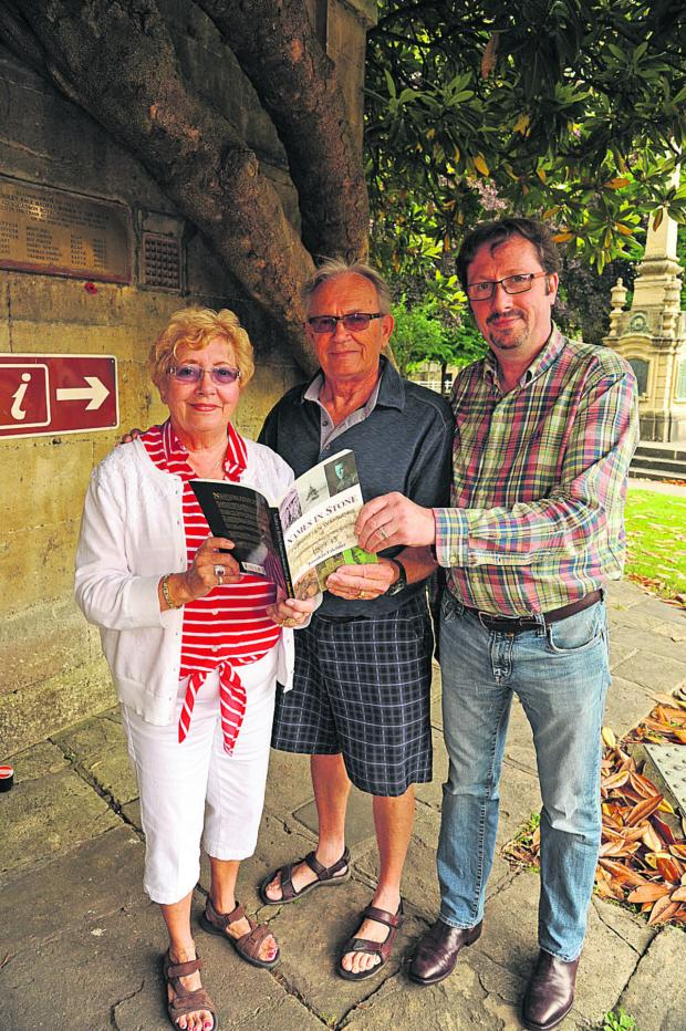Wiltshire Times: Lynne and Randy Grover with historian Jonathan Falconer; inset pilot officer Don Grover
