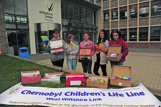Christina, Megan, Tammy, Molly and Tara with their welcome boxes for the Chernobyl Children