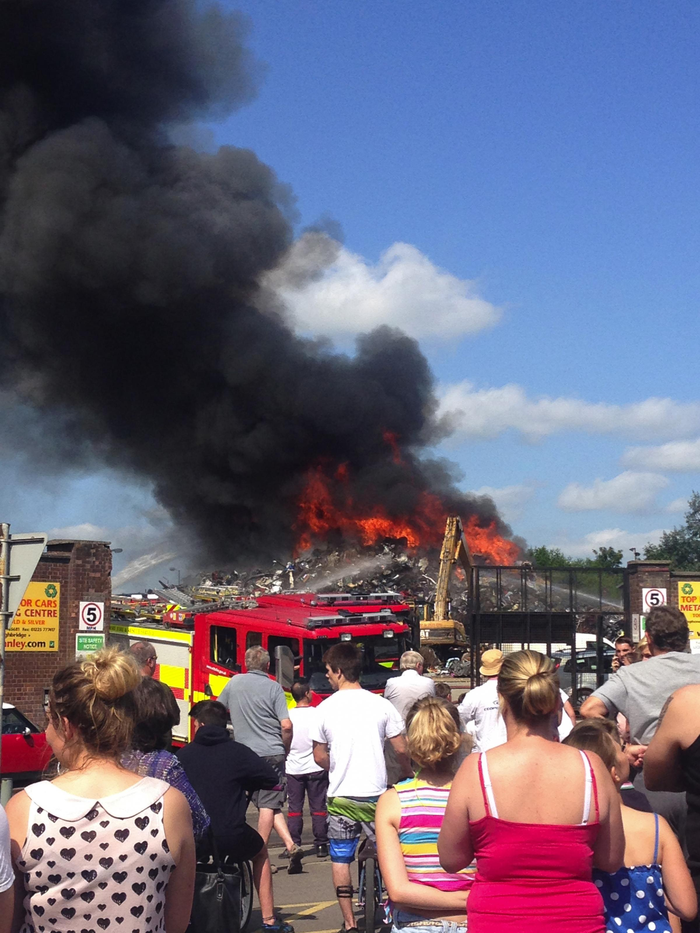 Road reopens as Trowbridge scrap yard fire extinguished after two days