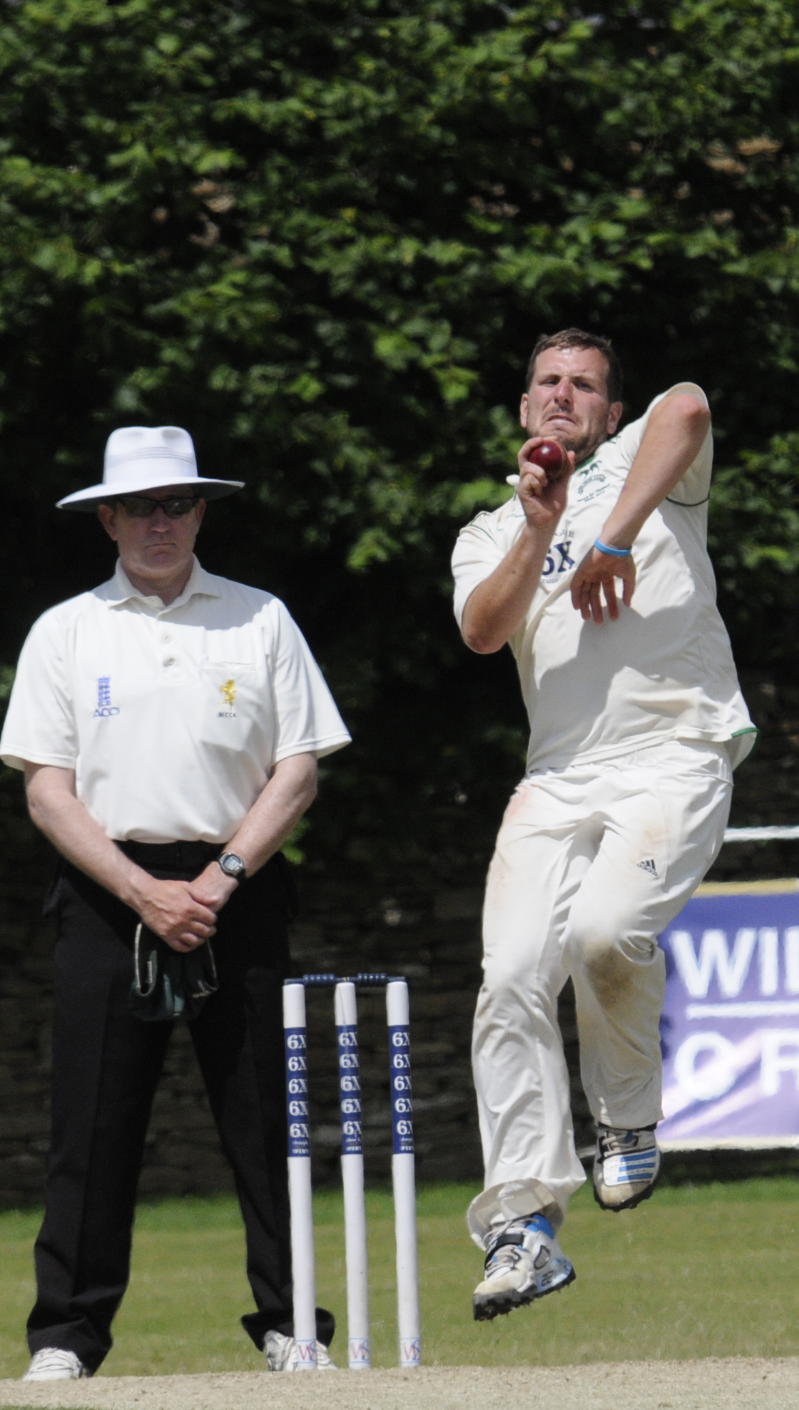 Jake Roberts, who took eight wickets in total against Dorset, bowls on day three
