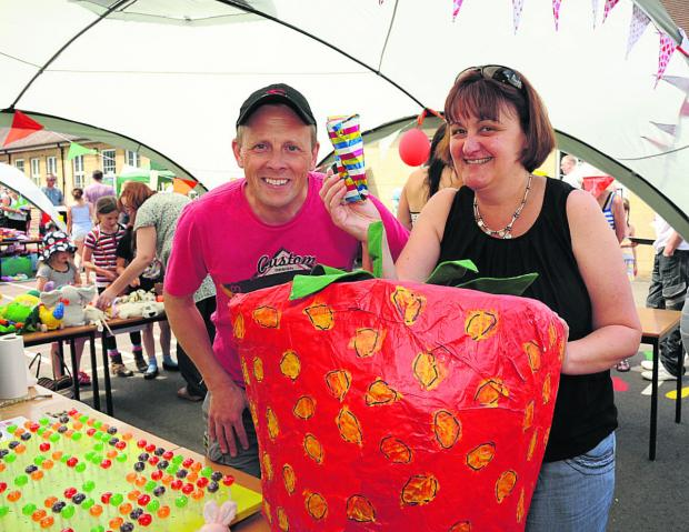 The lucky dip stall with Jonathan and Helen Peters at the Strawberry Fair