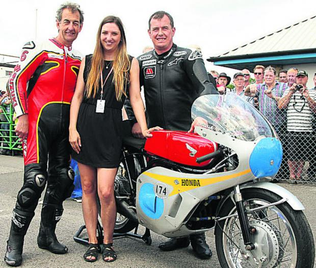 Wiltshire Times: Pictured (l-r): John McGuinness, Emma Gooch and Steve Parrish, with the Honda 6