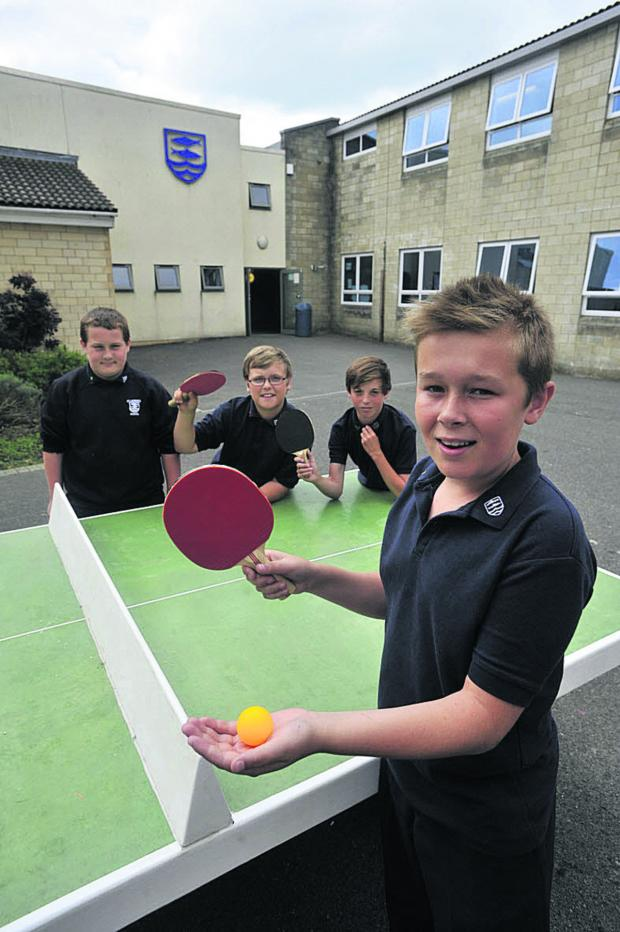 Wiltshire Times: Pupils at St Laurence School Lewis, Josh, Ryan and Seb about to enjoy a game