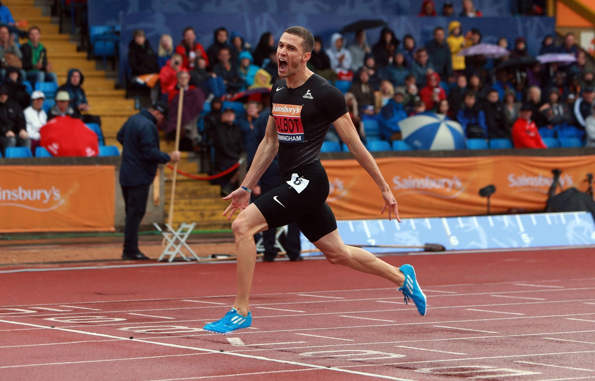 Danny Talbot celebrates after winning the 200m in Birmingham today