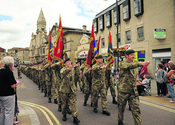 Army Cadets parade through the town yesterday. Picture by Trevor Porter