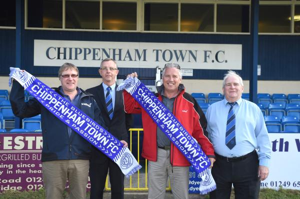 Chippenham Town welcome their new sponsors. Pictured (l-r): Oli Duckworth (Windhager commercial director), Neil Blackmore (Chippenham Town chairman), Charlie Lamb (Windhager sales director), John Applegate (Chippenham Town vice-chairman)
