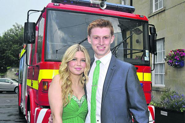 George West and Hannah Jordan arrived in a fire engine for the John of Gaunt Year 11 prom. P