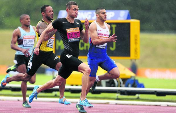 Danny Talbot speeds past rivals Adam Gemili and James Ellington to win the final of the men's 200m at the Sainsbury's British Championships at Birmingham's Alexander Stadium last Saturday