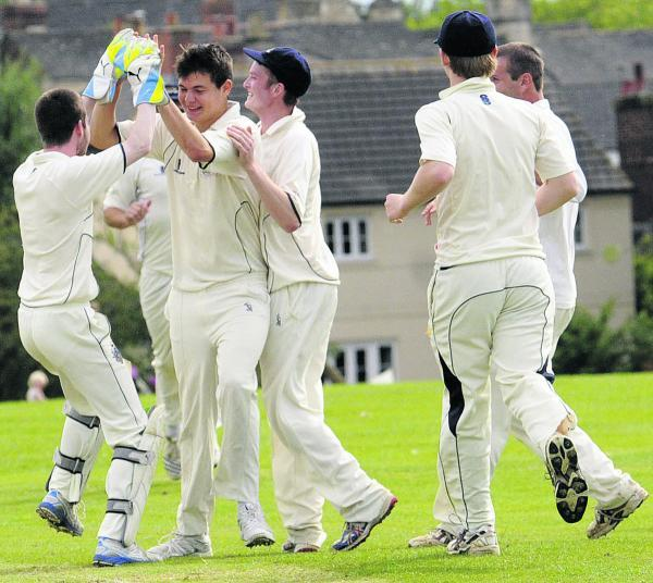 Celebrations for Malmesbury after taking the wicket of Beanacre & Melksham's Mark Wiltshire during Saturday's Division One match that Malmesbury won by 149 runs    (50075-6)