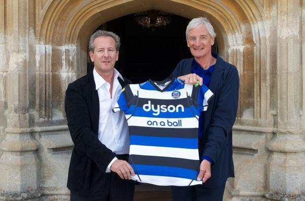 Wiltshire Times: Bath owner Bruce Craig (left) and Sir James Dyson celebrate their partnership at the club's Farleigh House base this week