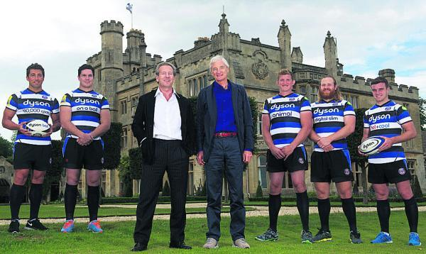 Bath owner Bruce Craig and Sir James Dyson celebrate the partnership with Bath players (l-r): Gavin Henson, Francois Louw, Stuart Hooper, Ross Batty and George Ford