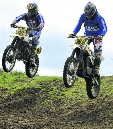 Ian Marks and Dave Hobbs take the jumps at the top of the course; above left, the Clubman 1 race gets underway on Sunday