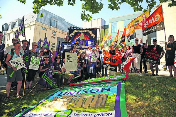 Day of action: Workers rally outside County Hall, Trowbridge