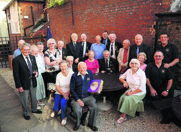 Pat Connor and members of the White Ensign Association celebrate his long service and forthcoming 90th birthday