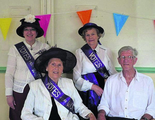 From left, 'suffragettes' Effie Gale-Sides, Margaret Bagnell and Maureen Weston with David Webb, honorary freeman of Atworth, at the Atworth Festival on Saturday