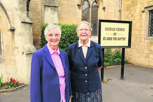 Sister Anne and Sister Monica, the last two Sisters of St John of God leaving the parish of St John the Baptist, Trowbridge