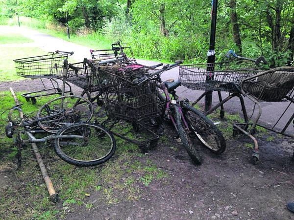 Some of the rubbish cleared out of the River Avon by Calne Divers