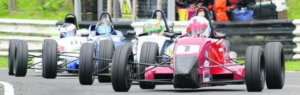 The closing laps of the Formula Ford race on Sunday as Adam Higgins, of Chippenham, leads Roger Orgee, Ed Moore, of Melksham, and Ben Norton, of Bratton  CASTLE COMBE PICTURES BY TREVOR PORTER (50103-5a)