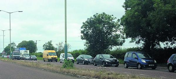 Traffic queues towards Devizes on the A361 this morning