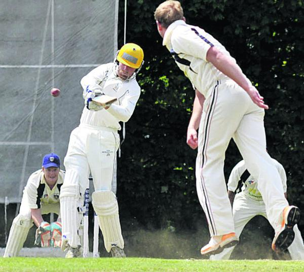Winsley's Jeremy Smith hits out against the bowling of Aaron Lee