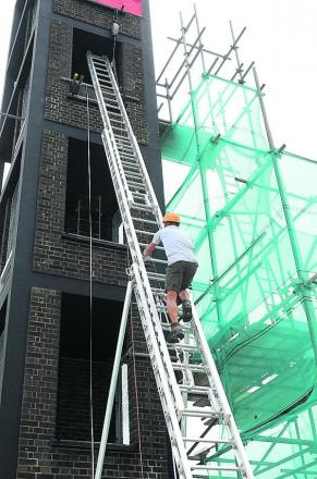 Keith scales the ladder