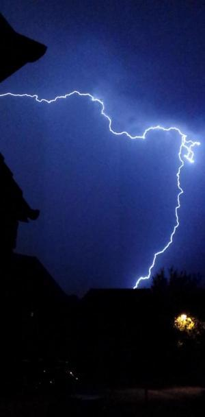 Dramatic thunder storm lights up Wiltshire sky