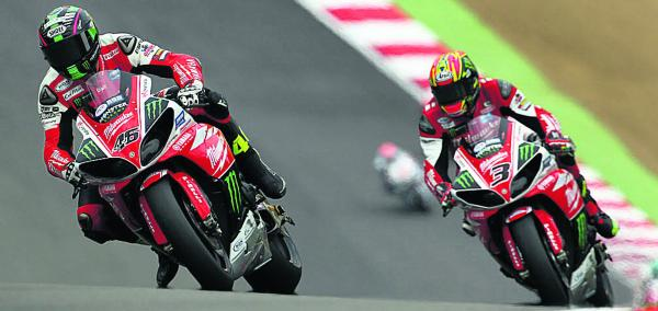 Tommy Bridewell (left) and teammate Josh Brookes at Brands Hatch (Pictures by Tim Keeton/Impact Images)