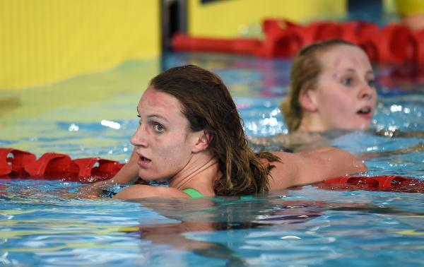 Jazz Carlin (left) and England's Siobhan O'Connor after the women's 200m freestyle tonight