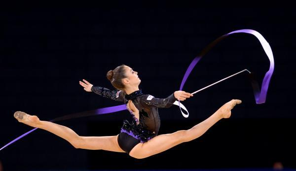 Laura Halford completes her ribbon routine in Glasgow today