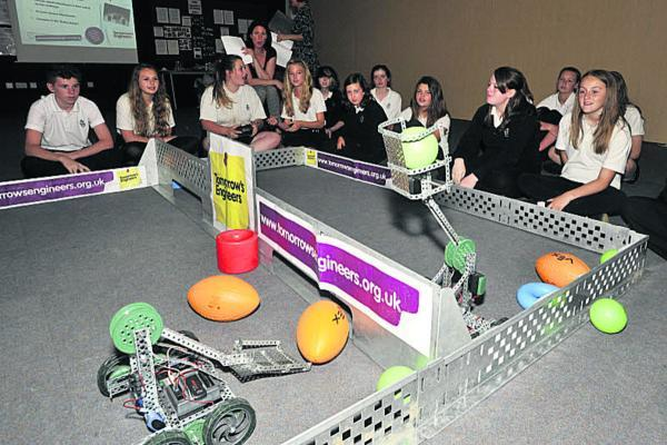 Matravers School Year 9 students taking part in a robot challenge on Tuesday