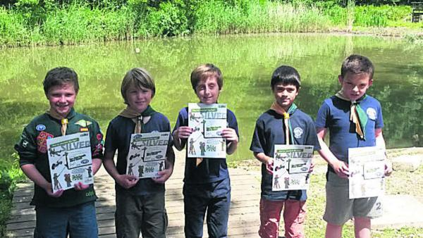 Adam Hawkins, Aaron Wright, Ethan Hunt, Charlie Rickett and Alexander Grainger with their awards.