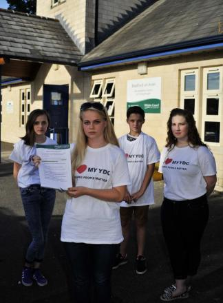 Bradford on Avon Youth Centre users, from left: Jodie Styles (16) Cherry Riley (17), Luke Pronick (12) and Alysha Green (16) unhappy their centre is to be closed