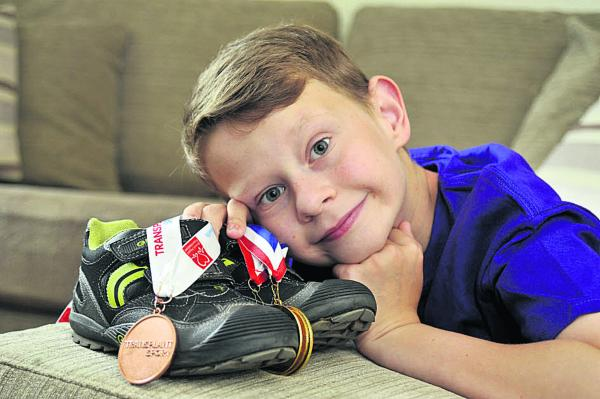 Tyler Wood, 11, of Westbury is hoping to repeat last year's medal success when he takes part in the Transplant Games in Bolton for the Great Ormond Street Hospital team