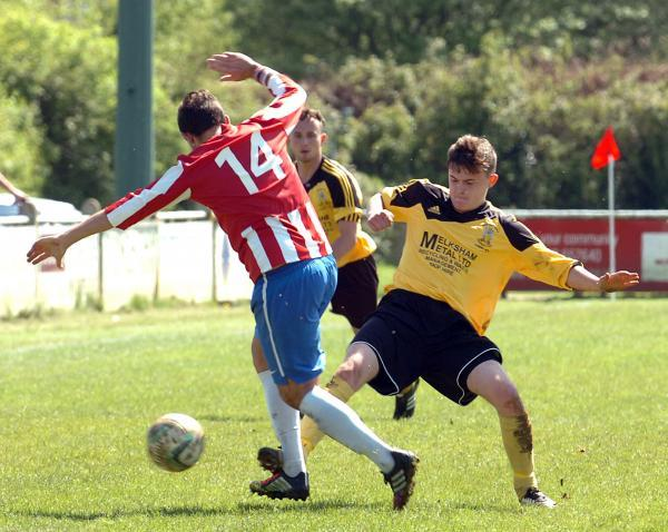 Jamie Broom (right) was on the scoresheet as Melksham Town beat Bridport on the opening day of the season