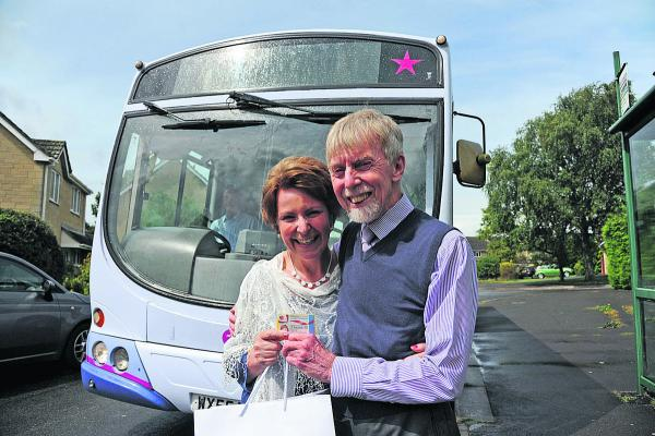 Love is just a bus ride away as Winsley couple use their passes to get hitched