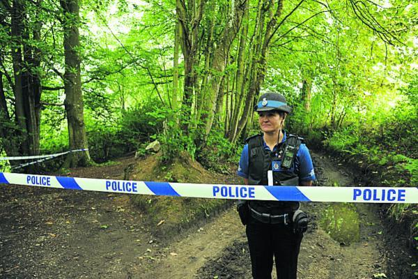 Police at Eastleigh Wood, Bishopstrow, yesterday. Picture by Trevor Porter