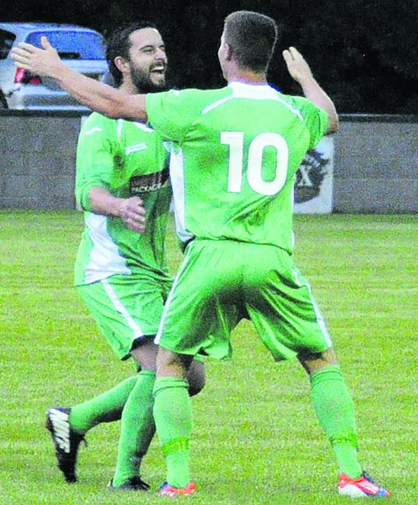 Westbury United's Simon Millard (10) celebrates the second of his four goals against Keynsham Town on Tuesday