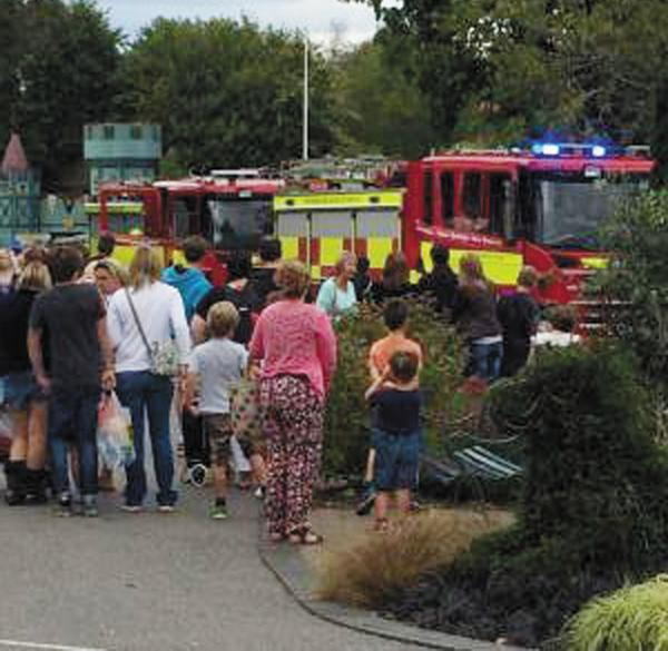 Onlookers at the scene of the accident at Longleat