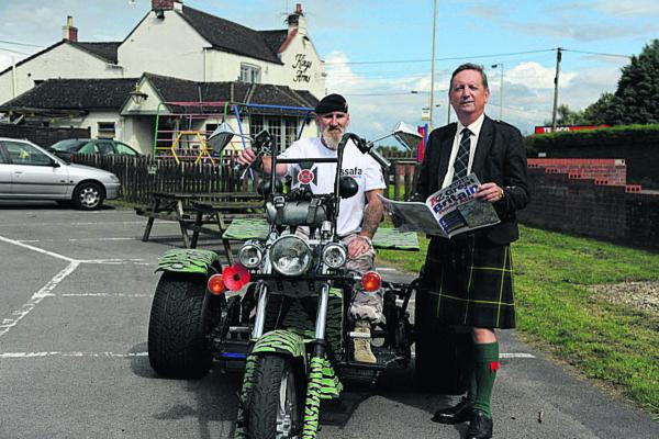 Steve Stone with his trike and Bill Common, secretary of SSAFA