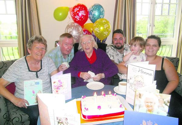 Alice Kudirka celebrates her 105th birthday with four generations of her family at Wingfield Care Home where she lives